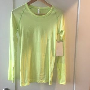 Lululemon neon yellow long sleeve shirt